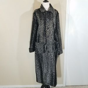Vintage Faux Fur Cheetah Button Up Trench Jacket